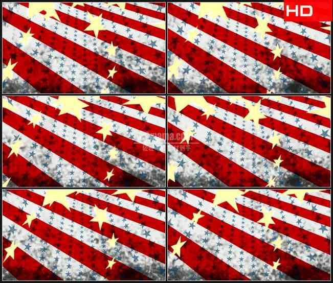 BG0495-摘要抽象美国国旗星星红色彩条动态背景高清LED视频背景素材