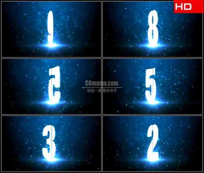 BG0502-粒子蓝色荧光数字旋转倒计时高清LED视频背景素材