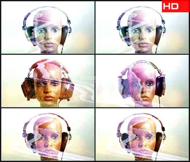 BG0505-模特改变耳机噪波高清LED视频背景素材