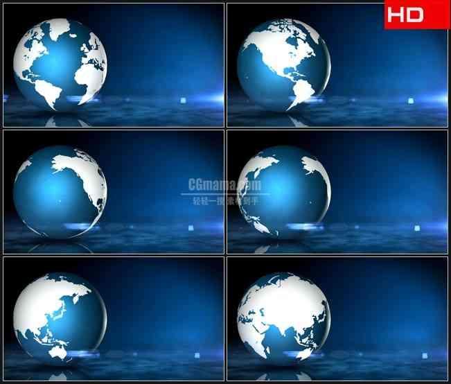 BG0516-变色地球三维模型转动蓝色背景高清LED视频背景素材