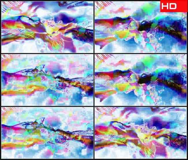 BG0518-丰富多彩线条光波混乱动感高清LED视频背景素材