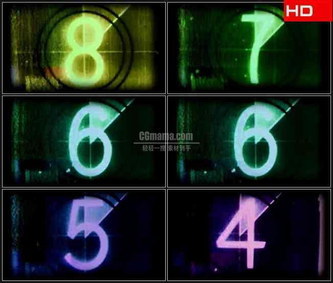 BG0546-老电影开头噪波数字倒计时高清LED视频背景素材