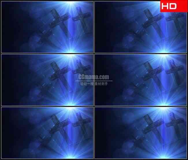 BG0549-蓝色光斑耀斑十字架高清LED视频背景素材