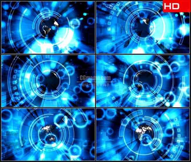 BG0554-全球科技未来蓝色地球旋转蓝色光环高清LED视频背景素材