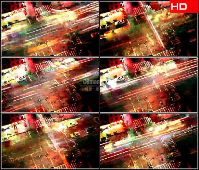 BG0571-美国纽约交通夜景车流霓虹快速流动高清LED视频背景素材