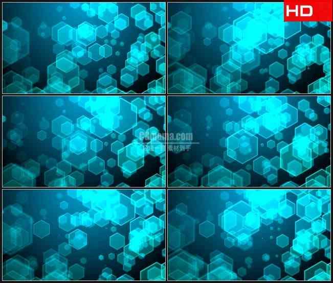 BG0573-蓝色蜂窝六边形光斑闪烁背景高清LED视频背景素材
