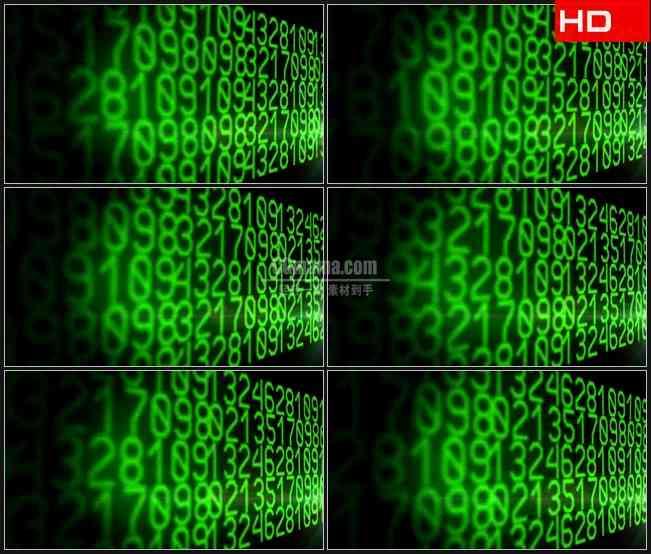 BG0577-绿色数字编号变换科技金融高清LED视频背景素材