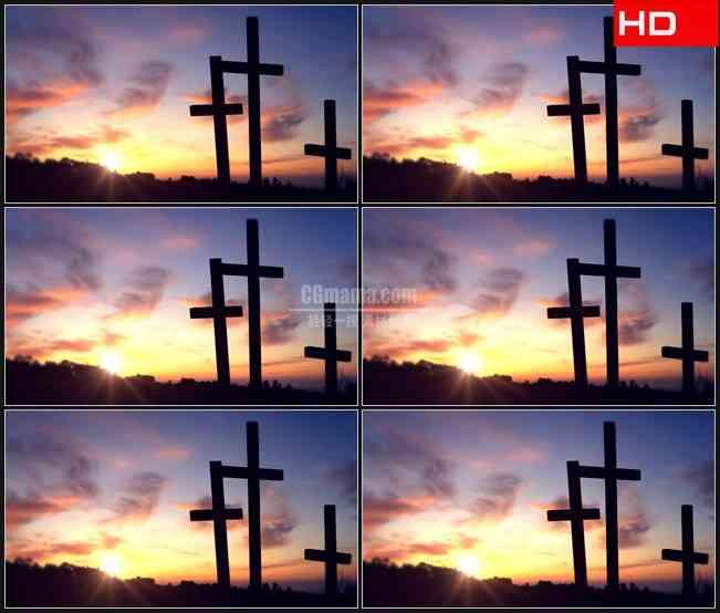 BG0582-斜阳日落黄昏十字架墓地高清LED视频背景素材