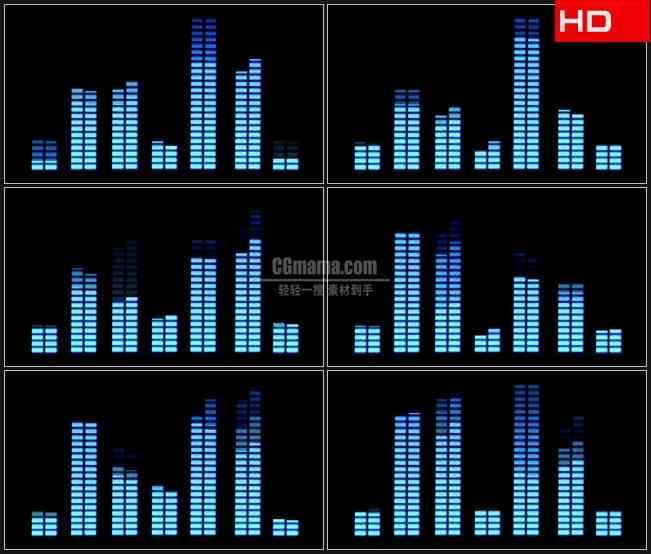 BG0602-音乐调频音量条跳跃高清LED视频背景素材