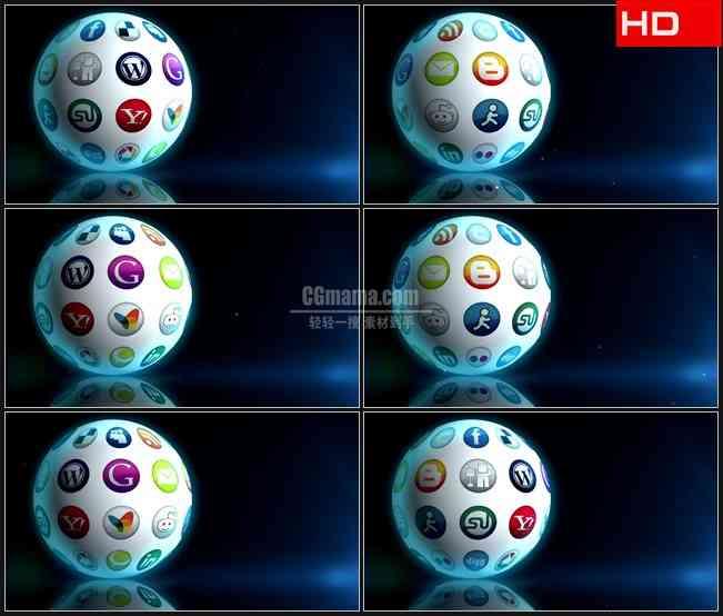 BG0614-旋转球体社会媒体领域软件图标展示高清LED视频背景素材