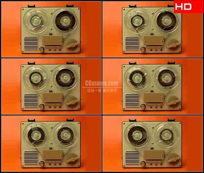 BG0620-间谍磁带录音机转动高清LED视频背景素材