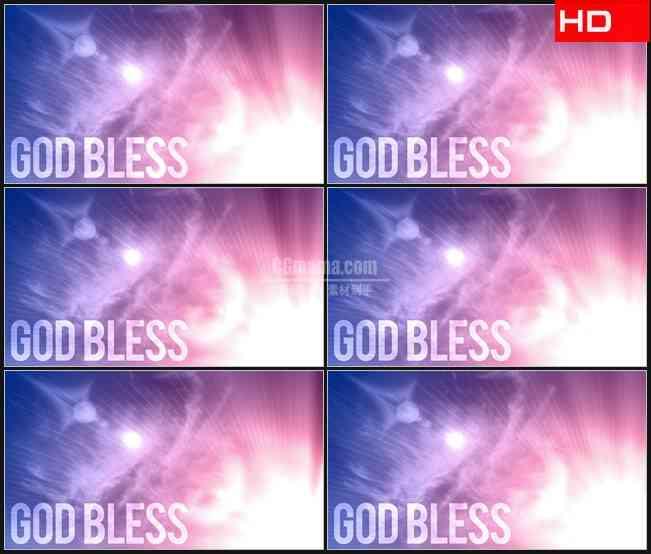 BG0621-上帝保佑文本紫色背景光芒高清LED视频背景素材