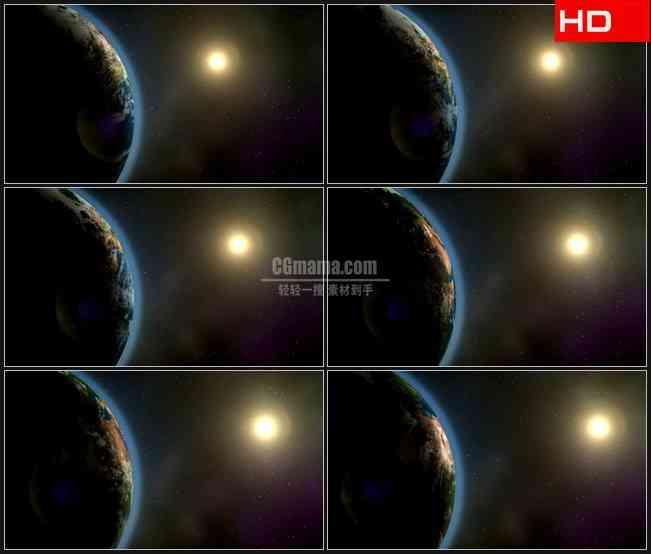 BG0623-地球自转太阳太空宇宙天文高清LED视频背景素材