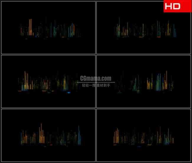 BG0628-黄色蓝色音频条跳跃黑色背景高清LED视频背景素材