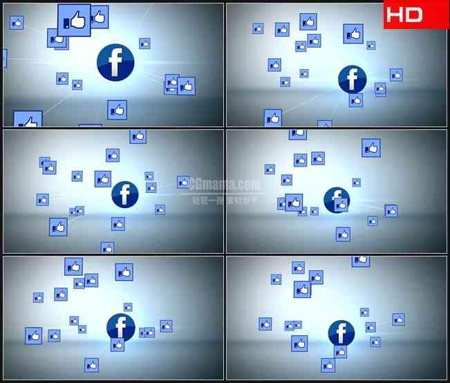 BG0633-浮动图标喜欢facebook高清LED视频背景素材