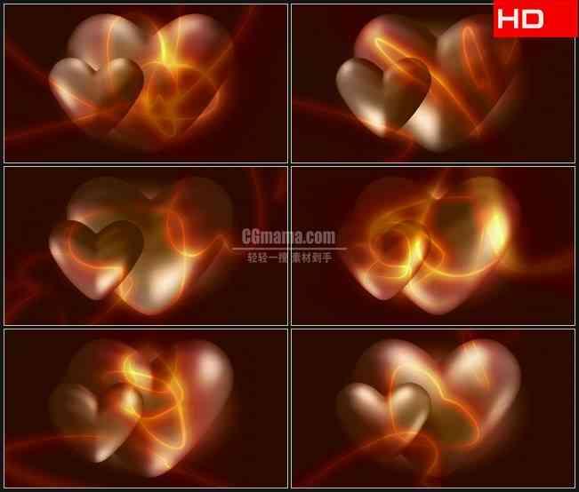 BG0639-立体爱心心形光晕浪漫婚礼高清LED视频背景素材