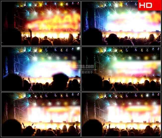 BG0643-晚会DJ演唱会酒吧霓虹光影欢呼人影高清LED视频背景素材