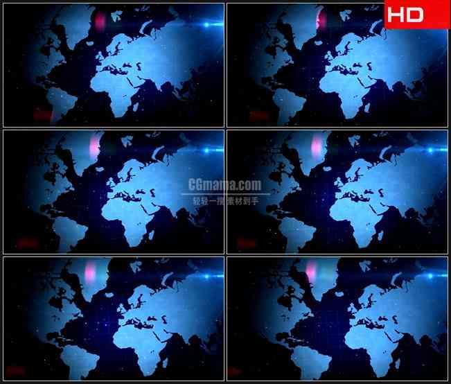 BG0645-蓝色世界版图滚动星空粒子高清LED视频背景素材