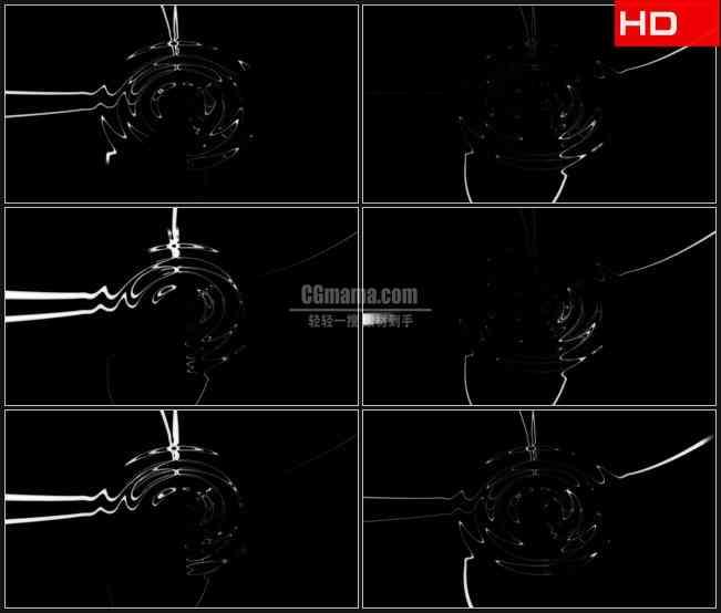 BG0667-透明通道循环银白色水波纹高清LED视频背景素材