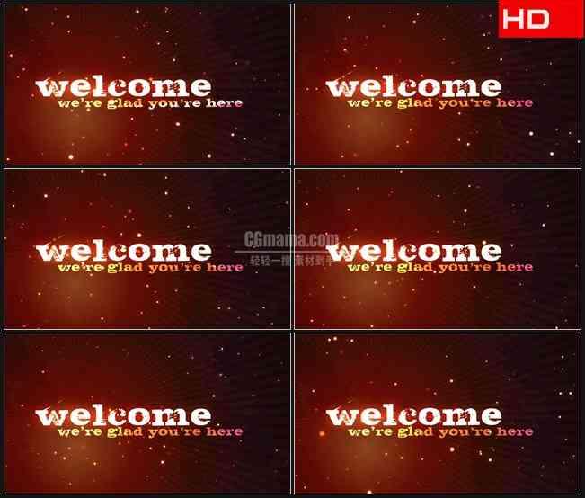 BG0670-欢迎文本橙红色光线粒子动态背景高清LED视频背景素材