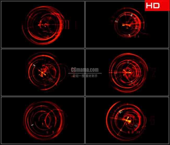 BG0674-魔幻红色炫光圆环数字飞舞时钟转动时间高清LED视频背景素材