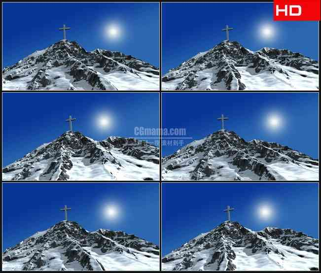 BG0678-天空光芒三维雪山十字架高清LED视频背景素材