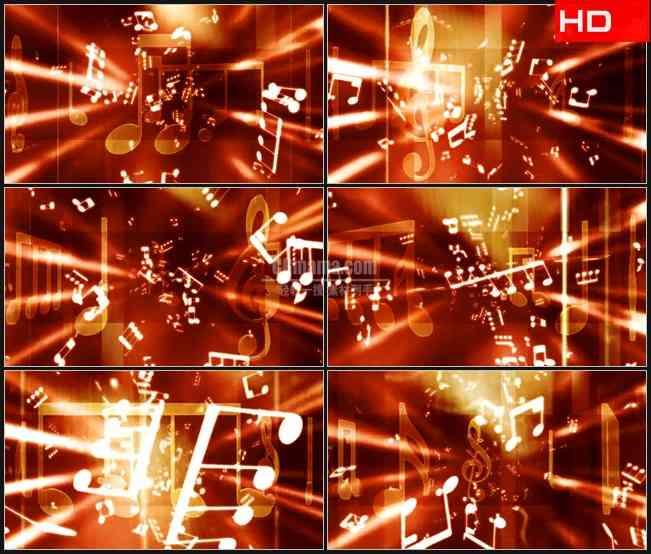 BG0681-金色音乐音符飞出大气晚会音乐会高清LED视频背景素材