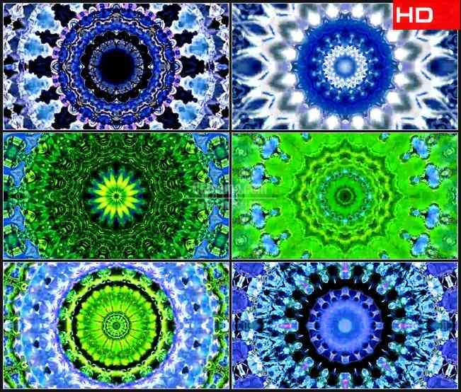 BG0685-蓝色青花万花筒绚丽变幻动态背景高清LED视频背景素材