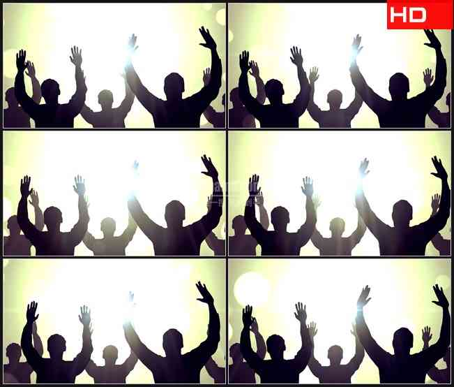 BG0686-欢呼摆动双手人物剪影白色光晕高清LED视频背景素材