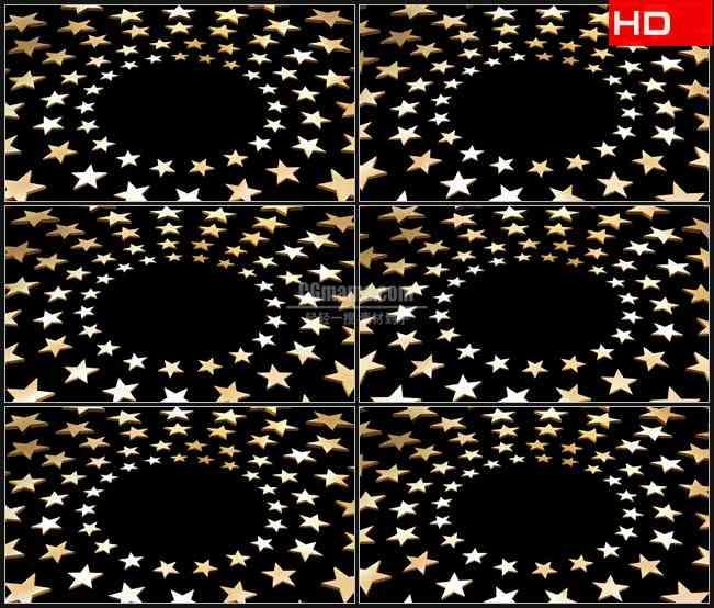 BG0702-三维立体金色星星圆环旋转黑色背景高清LED视频背景素材