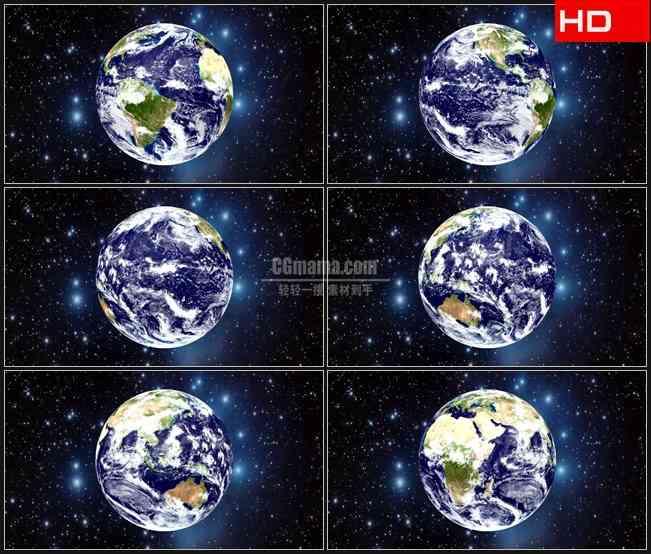 BG0708-地球转动星空闪耀高清LED视频背景素材