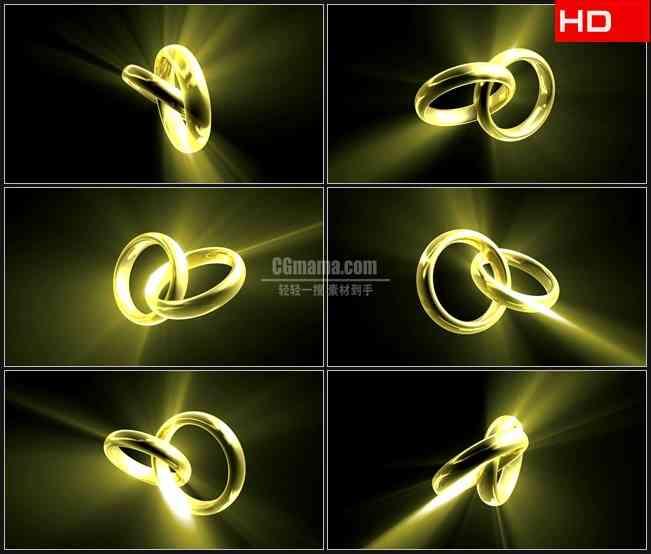 BG0712-金色指环对戒旋转婚礼高清LED视频背景素材