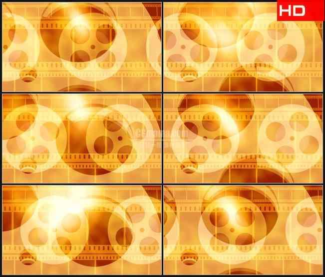 BG0723-金黄色电影胶卷转动胶片动态背景高清LED视频背