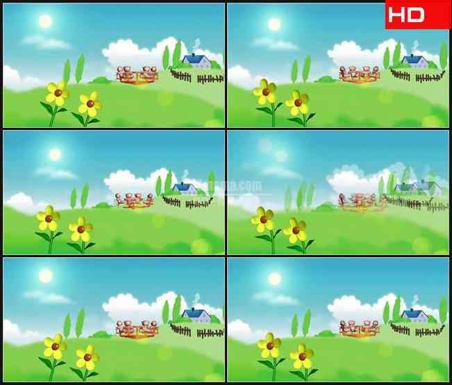 BG0731-卡通儿童小花草地房子小熊坐转椅玩耍高清LED视频背景素材