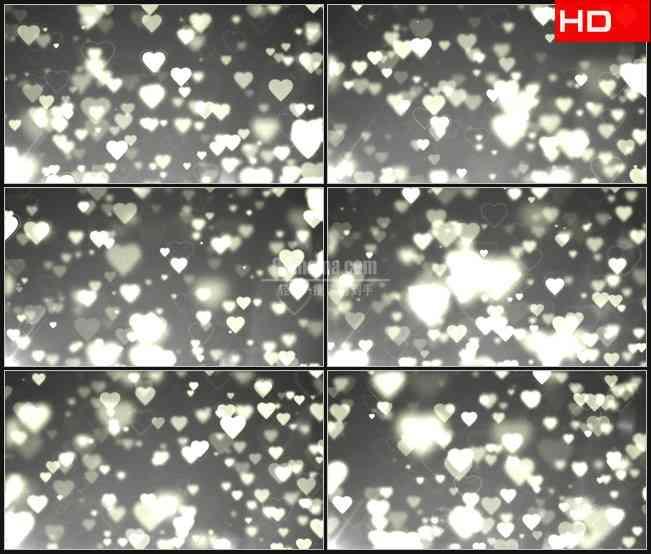 BG0740-白色心形粒子纯洁浪漫婚礼动态背景高清LED视频背景素材