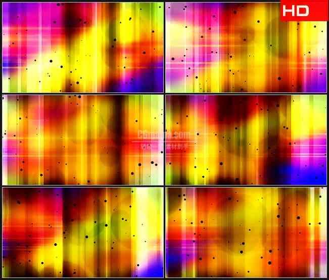 BG0754-黑色斑点紫色黄色彩虹圆形光斑动态背景高清LED视频背景素材