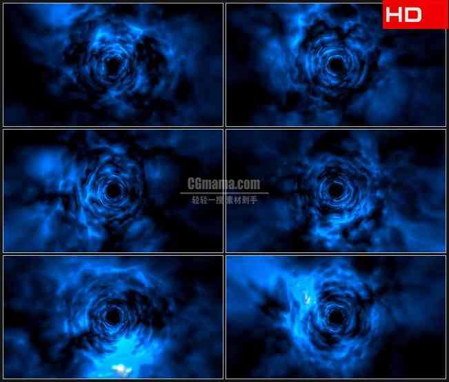 BG0761-蓝色空间虫洞隧道穿梭高清LED视频背景素材