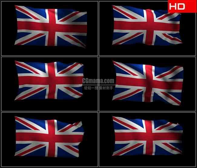 BG0769-三维联合王国的国旗飘动黑色背景高清LED视频背景素材