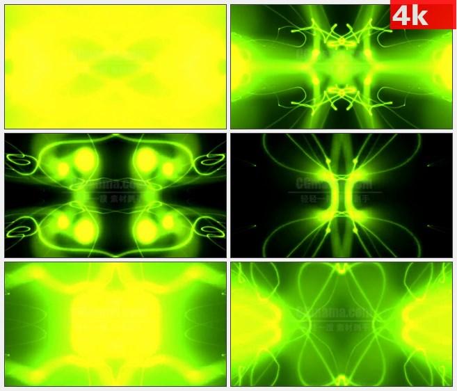 4K0732LED大屏背景素材 绿色抽象光动画 动感乐曲背景 高清LED视频背景素材