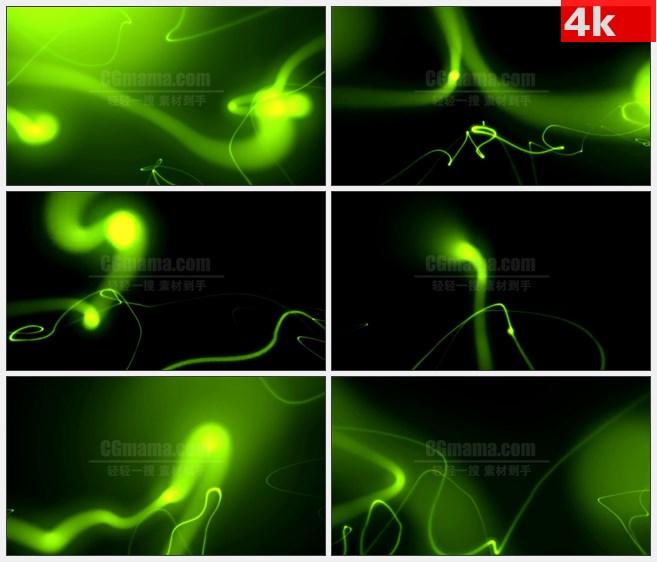 4k0734led大屏背景素材 绿色抽象光线动画 奇异玄幻风格 高清led视频