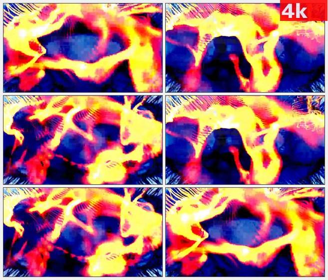 4K0743LED火彩光脉红色蓝色波纹动态背景高清实拍视频素材