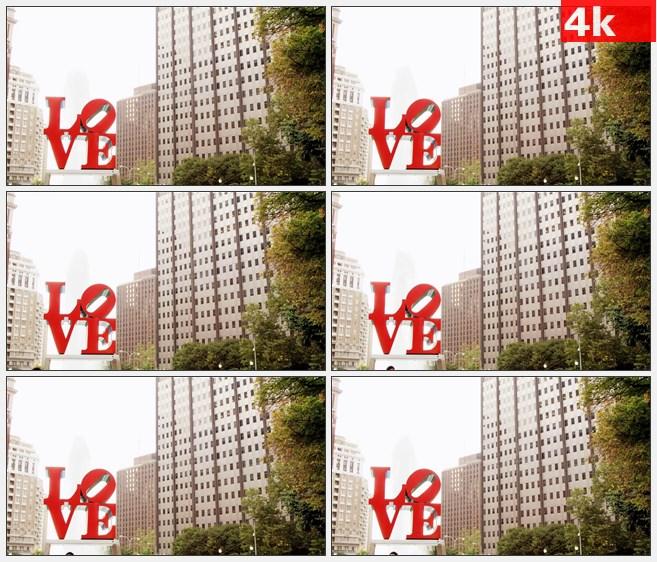 4K0748LOVE字塑像喷泉高楼城市风光高清实拍视频素材