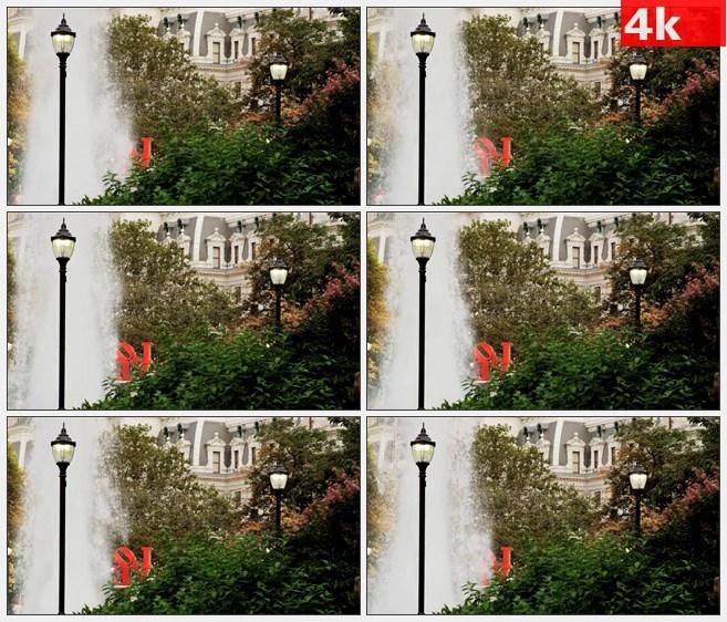 4K0749LOVE字塑像喷泉绿树花园美景高清实拍视频素材