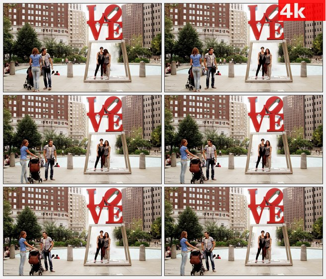 4K0751LOVE字体塑像拍照游玩高清实拍视频素材