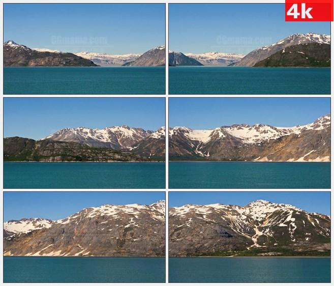 4K0755阿拉斯加海岸高山雪山海洋高清实拍视频素材