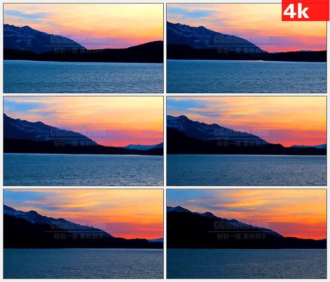 4K0756阿拉斯加航道沿途美景红色晚霞远山高清实拍视频素材