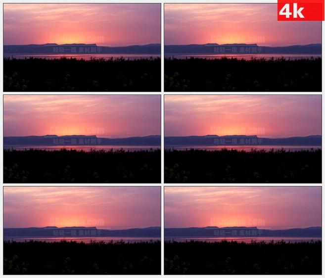 4K0757阿拉斯加山脉傍晚红色天空晚霞远山河流草地高清实拍视频素材