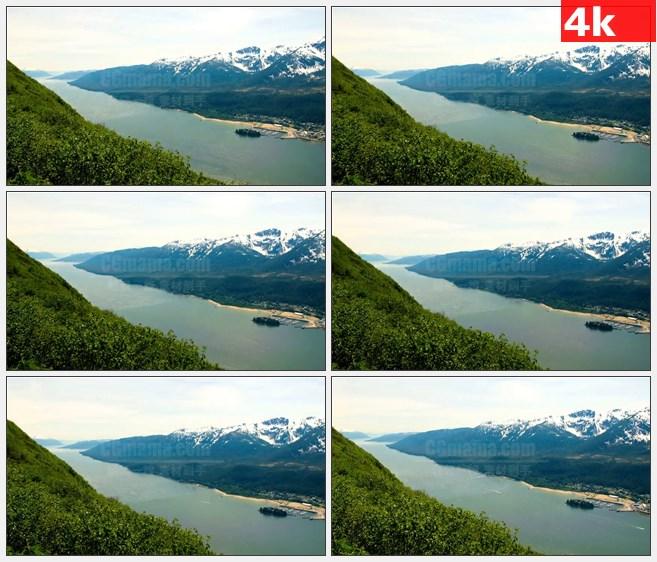 4K0762阿拉斯加山山脉山坡河流风光高清实拍视频素材