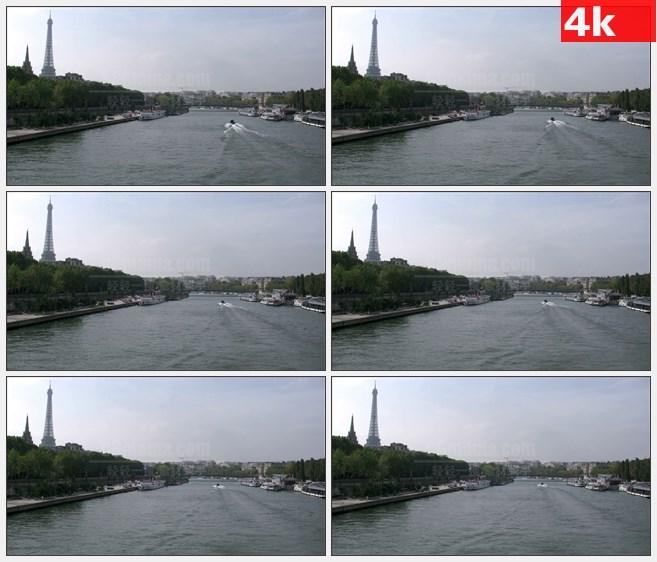 4K0765埃菲尔铁塔伦敦塞纳河游艇高清实拍视频素材