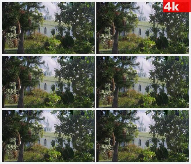 4K0777白色欧式教堂建筑灌木绿树高清实拍视频素材